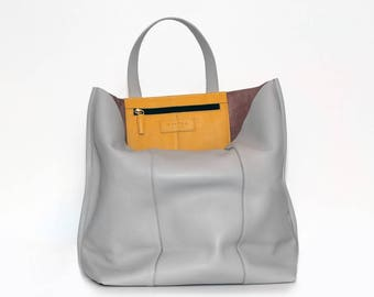 Unlined slouchy leather shopper