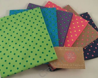 Polka Dot Fat Quarter Pack / Bundle 100% Cotton Spots bright Colours Green, Blue, Purple, Pink