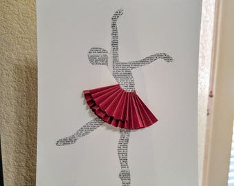 Book Page Ballet Dancer with Red Skirt