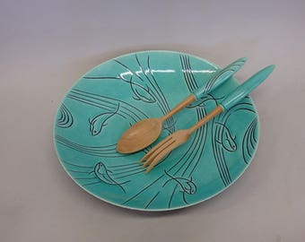 Roselane Fish Themed Aqua Salad Bowl and Servers