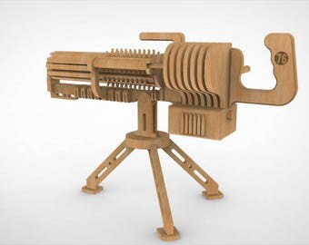 The gun is a war trophy designer. Drawing a plan for manufacture on CNC