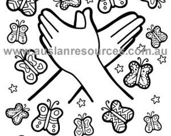 Instant Download - Auslan Butterfly Colouring Page