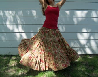 Tan Floor-length 3 tiered skirt