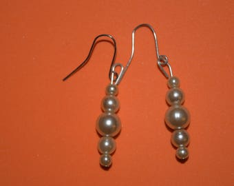 Brown faux pearl earrings