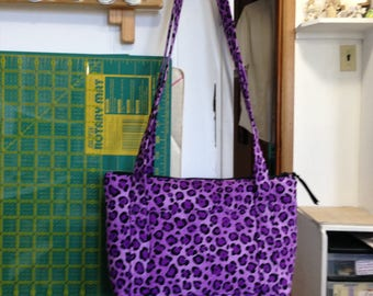 handmade Purple Leopard purse, zipper closure