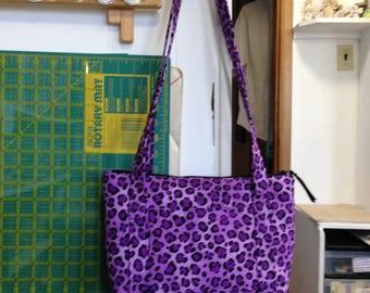 handmade Purple Leopard purse, zipper closure