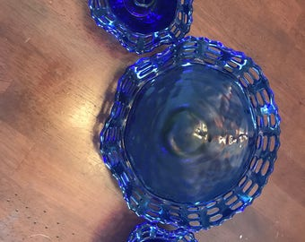 Antique blue weave candle holder and bowl