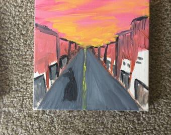 acrylic painting 8x8 doberman alley walk