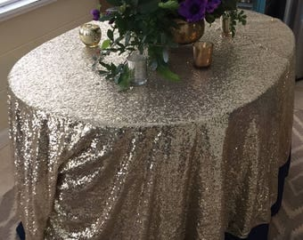 Lovely Gold Sequin Tablecloth, Light Gold Sequin Tablecloth, Sequin Tablecloth,  Gold Sequin, Wedding