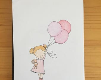 Girl with Balloons, Illustration