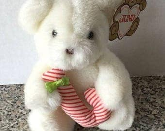 """Gund White Teddy Bear Exclusively For Eaton's Candy Style 4319 Plush NEW 5.5"""" 1988 Vintage"""