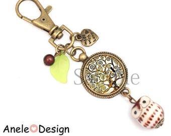 Tree of life key ring Klimt bird cabochon