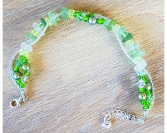 Green and white sea glass bracelet