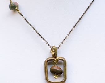 Brown and gold Agate with Brass frame Necklace