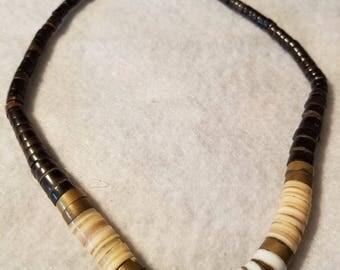 Bronze accent heavy stone necklace