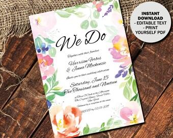 Day Reception Wedding Invitation Template, Printable Editable Wedding Invitation, Watercolor Flowers, Text Editable PDF, Border 4 INV-4