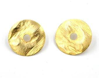Earrings, yellow gold, nickel free, disc earrings gold, hangemachter jewelry
