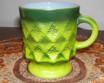 Vintage Anchor Hocking Fire King Kimberly Mug in Green (avocado)