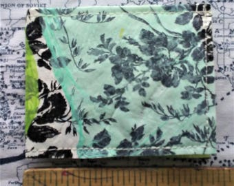 Floral Blue Green Upcycled Recycled Plastic Shopping Bags Wallet