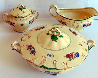 Rare Antique Booths Silicon China Made in Great Britain 3 piece Match Set