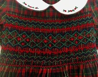 Vintage original smocked Tartan collared girls 3-4y dress
