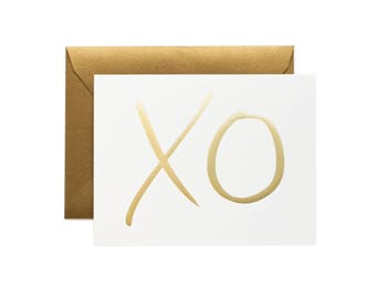 XO Card, Hugs and Kisses Card, Gold Foil, Gossip Girl Style, Rifle Paper Co, Mother's Day card, Anniversary card