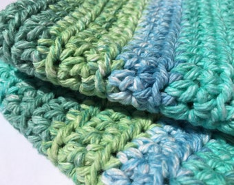 Set of 2 Crochet Washcloths in Aqua Stripe // Housewarming Gift // Kitchen & Bath