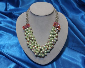 Light Green Braided Fresh Water Pear Necklace With Pink Swarovski Accents