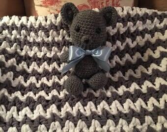 Handmade Baby Blanket with Teddy Bear