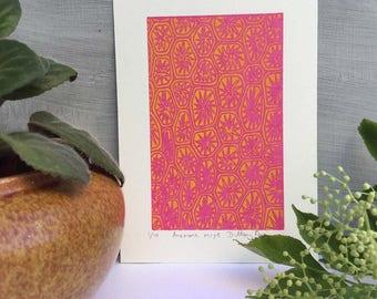 Hot Pink Print, Art Print, Pink Print, Screen Print, Home Decor Print, Unframed Print, Paper Anniversary Gift,  Small Print, Pattern Print