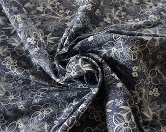 Wild Flowers 4oz Printed Denim Fabric - Indigo