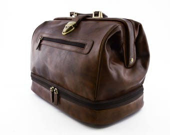 Genuine Leather Doctor Bag with Double bottom and front pocket