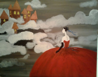 Girl & Castle In The Clouds Acrylic Painting on Gallery style canvas