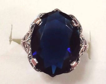 Vintage Midnight Blue Sapphire Victorian Sterling Silver Gemstone Ring, 8 ct. - Size 6
