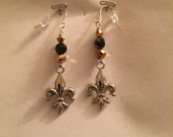 Gold and Black Fleur De Lis Earrings