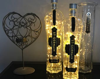 Illuminated Bottle Lamp/Wedding Centre Piece, Copper Micro LED's self contained 12hours continuous illumination