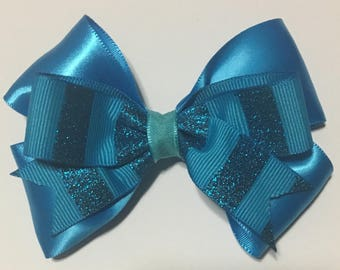 Blue stripe bow