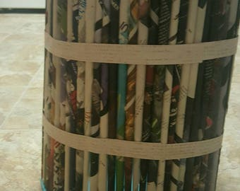 Recycled magazine recycling bin