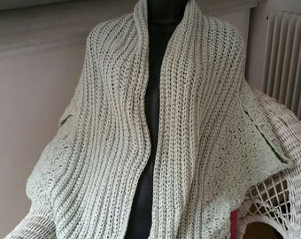 Grey long vest made crochet
