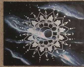 Outer space stellar mandala painting
