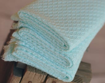 Aqua Stretch Knit Wrap, Teal Photography Wrap, Newborn Photography Layers, RTS