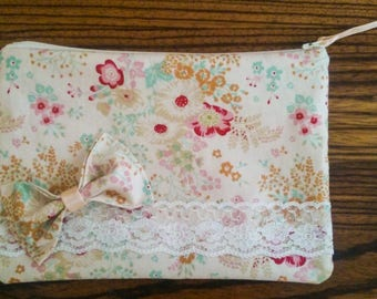 Handmade vintage makeup cosmetic bag