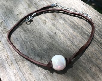 Iridescent Pearl on Suede Choker