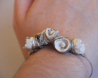 Porcelain Cluster and Wire Wrap Bracelet