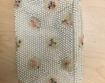 Vintage 1950's beaded clutch purse rose