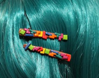 Tetris hair clip