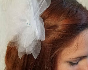 White and blue organza flower comb