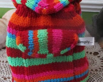 Hand knitted back pack / bag for toddlers / nursery school age