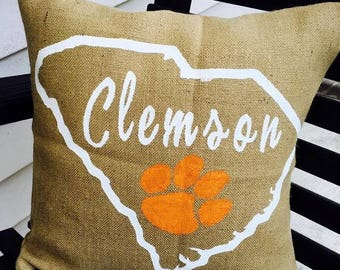 Clemson Burlap Pillow 16X16