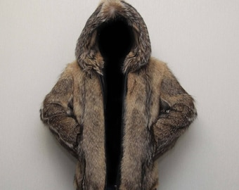 Men's jacket  wolf fur, coyote, new, size S